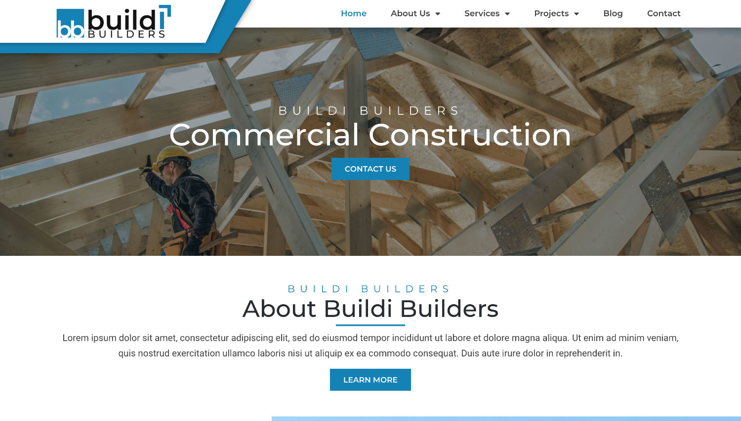 Buildi Builders Free Elementor Template Preview by ThemeShark