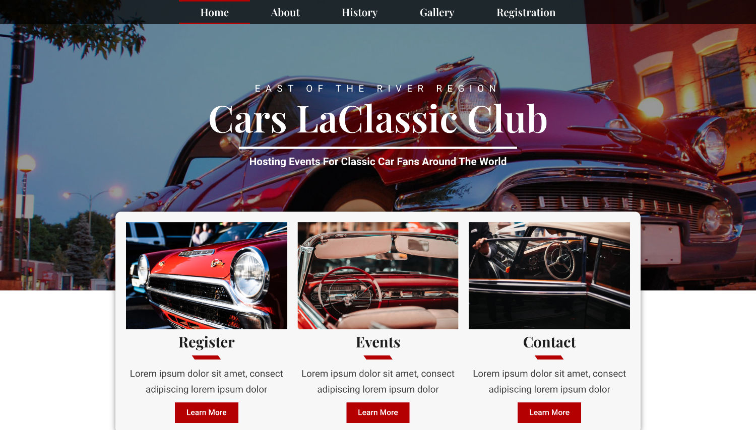 Cars LaClassic Free Elementor Template Preview by ThemeShark
