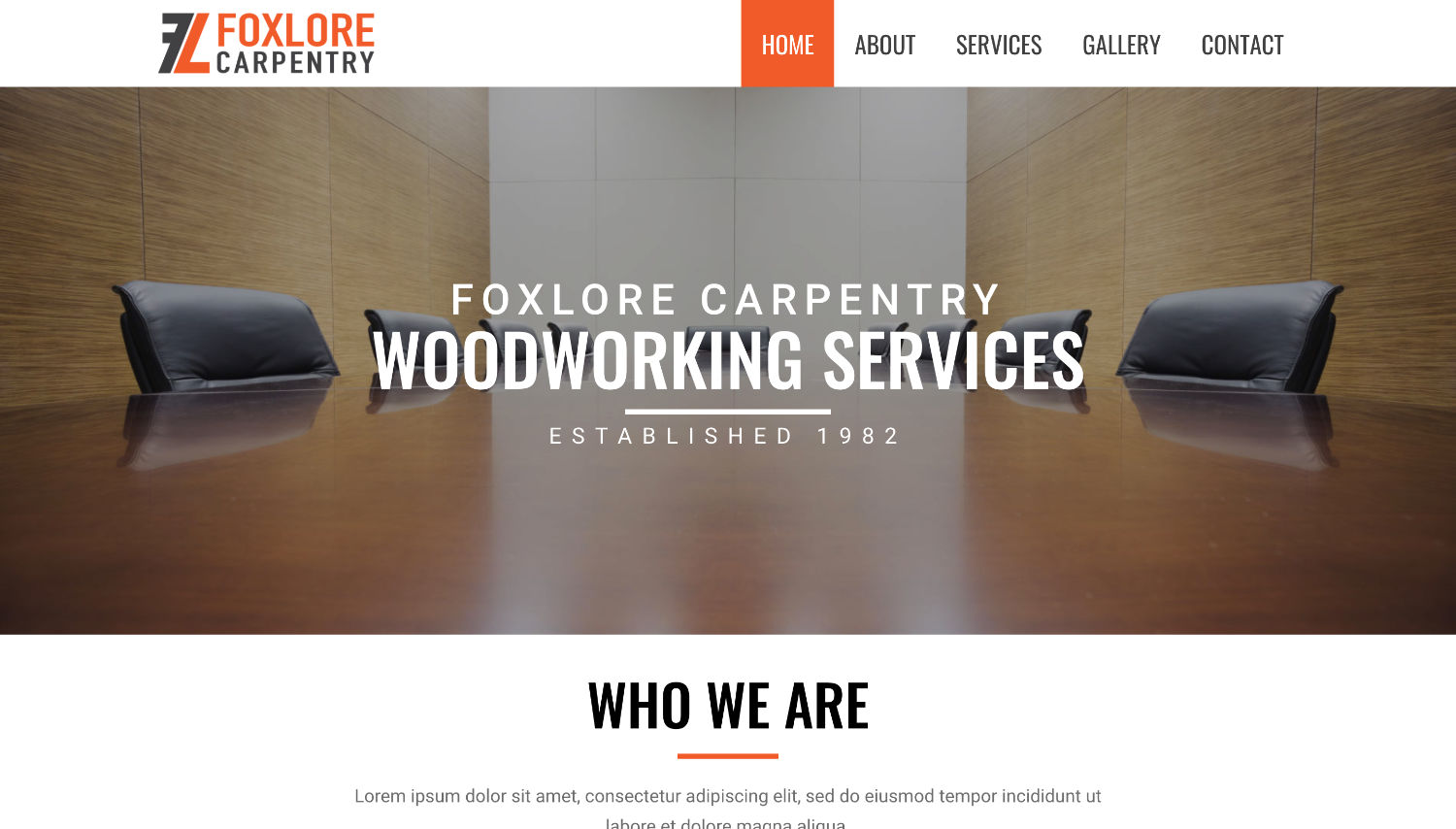 Foxlore Carpentry Free Elementor Template Preview by ThemeShark
