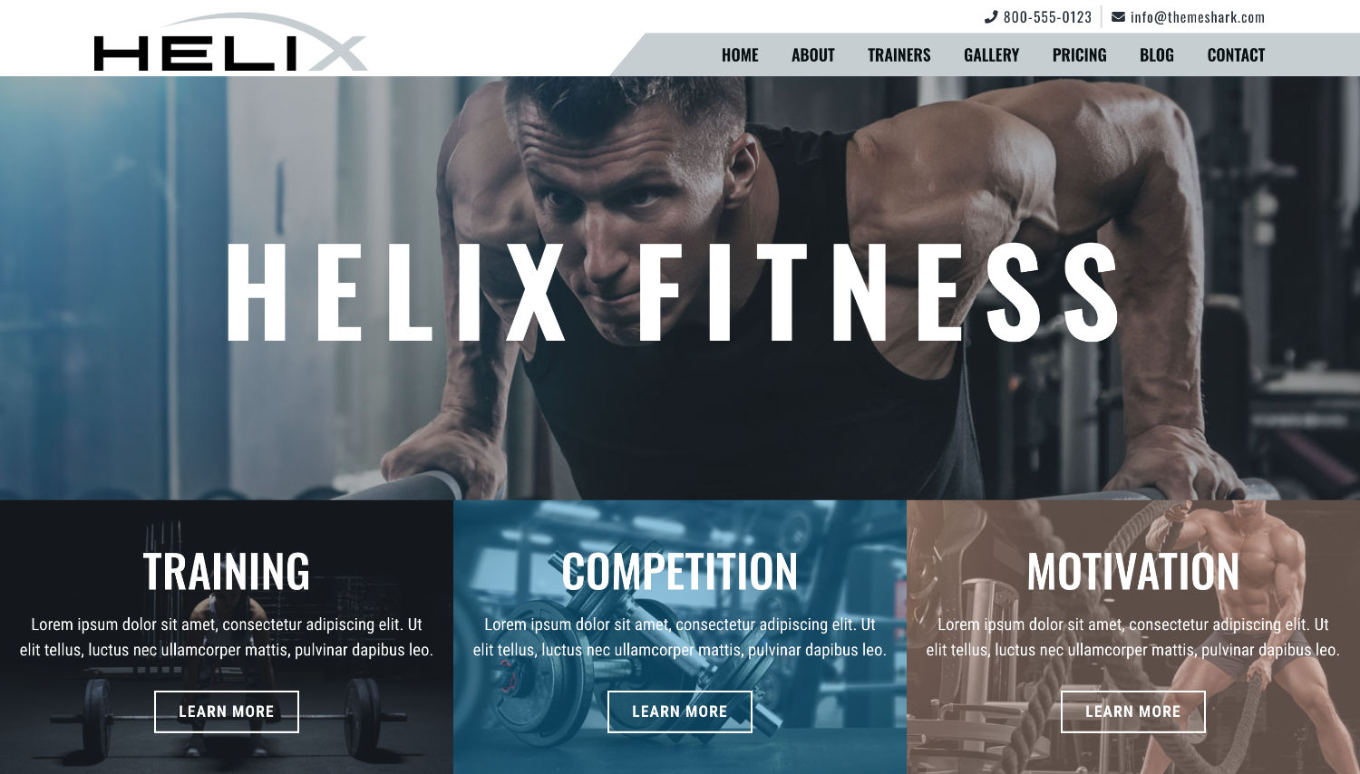 Helix Fitness Free Elementor Template Preview by ThemeShark